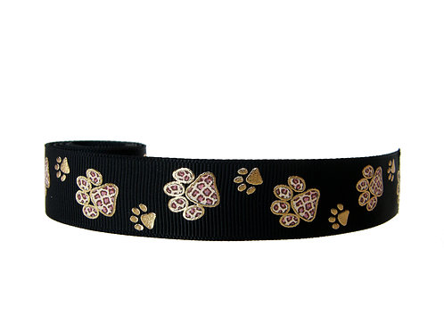 25mm Wide Gold Paw Prints Martingale Collar