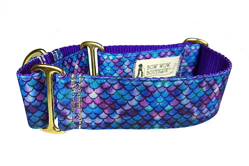 38mm Wide Purple Mermaid Martingale Dog Collar