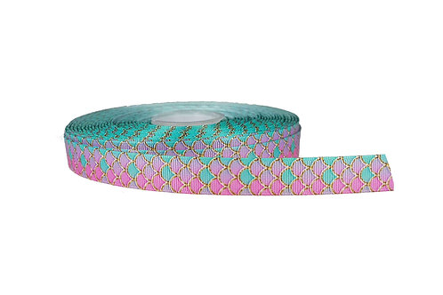 19mm Wide Pink Mermaid Scales Martingale Collar
