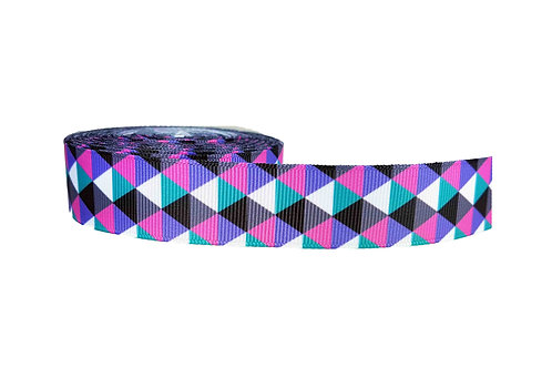 25mm Wide Pink & Purple Triangles Dog Collar