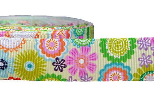 25mm Wide Yellow Flowers Martingale Collar