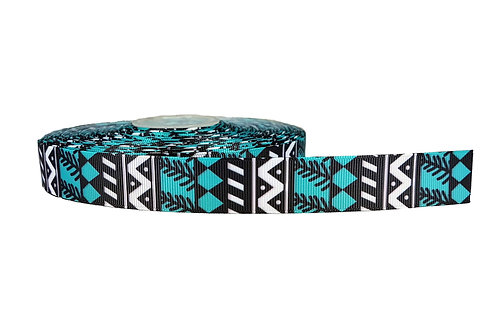 25mm Wide Blue/Black Geometric Shapes Double Ended Lead
