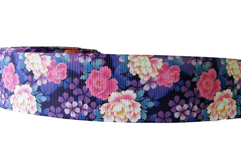 38mm Wide Purple & Pink Flowers Dog Collar