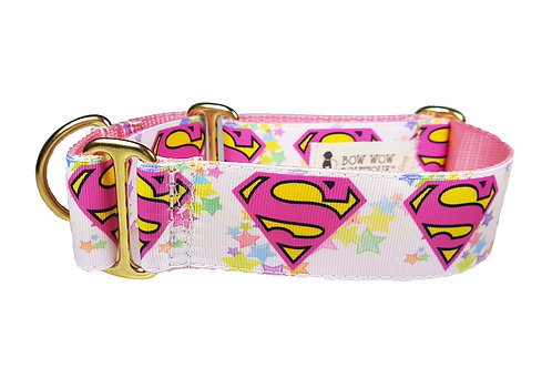 38mm Wide Supergirl Martingale Dog Collar