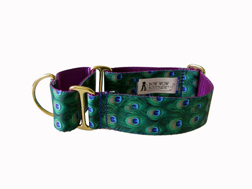 38mm Wide Peacock Feathers Martingale Dog Collar