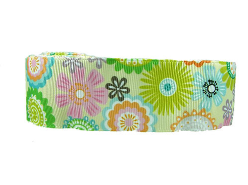 38mm Wide Yellow Flowers Martingale Dog Collar