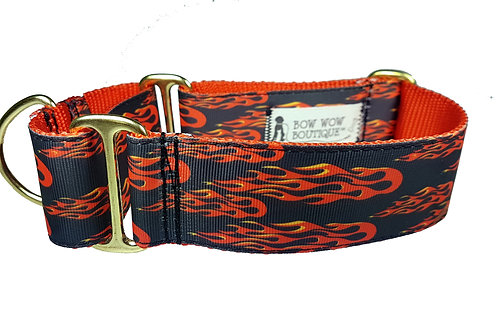38mm Wide Racing Flames Martingale Dog Collar