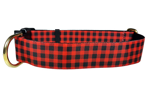 38mm Wide Buffalo Plaid Dog Collar