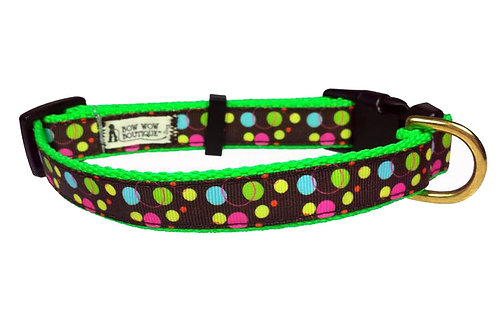 19mm Wide Green, Pink, Blue Dot on Brown Collar