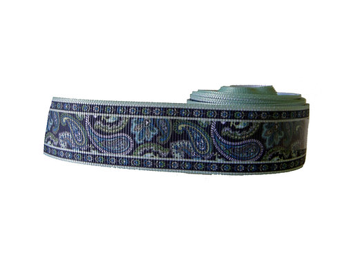 25mm Wide Navy and Mint Green Paisley Lead