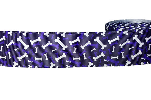 38mm Wide Purple Bones Dog Collar