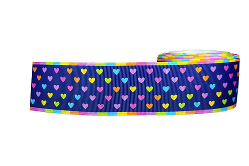 38mm Wide Multi Coloured Hearts Dog Collar