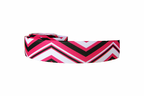 25mm Wide Pink, Black & White Chevron Dog Collar