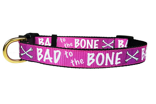 25mm Wide Pink Bad to the Bone Dog Collar