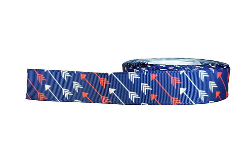 25mm Wide White & Red Arrows on Blue Lead