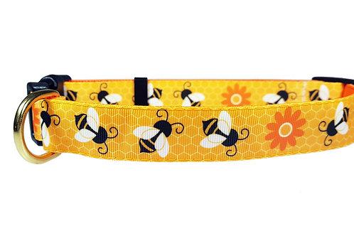 25mm Wide Honey Bees Dog Collar