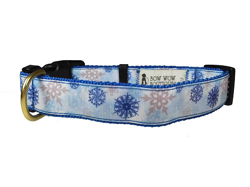25mm Wide Snow Flakes Dog Collar