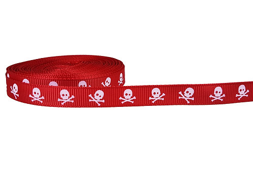 12.7mm Wide Red Skulls Double Ended Lead