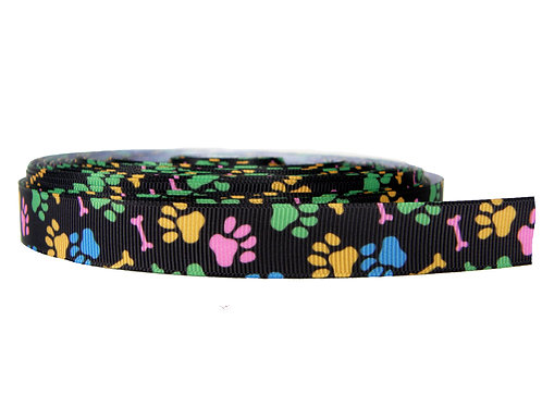 19mm Wide Multi Coloured Paw Prints Lead