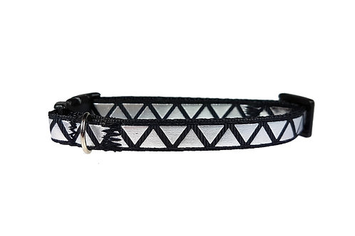 Silver Triangles on Black Cat Collar