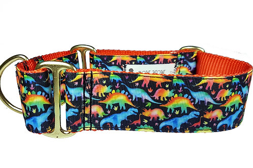 38mm Wide Dinosaurs Martingale Dog Collar