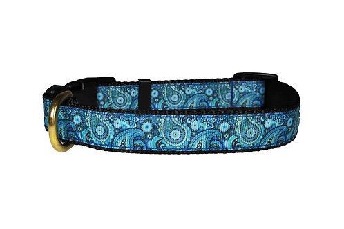 19mm Wide Blue Paisley Collar