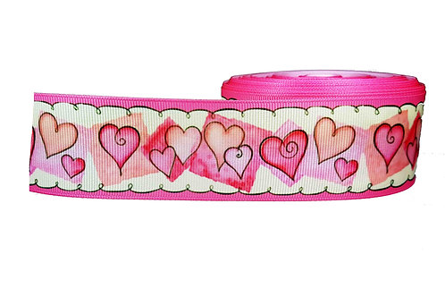 38mm Wide Pink Hearts Martingale Dog Collar