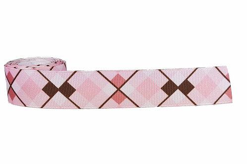 25mm Wide Pink & Brown Argyle Dog Collar