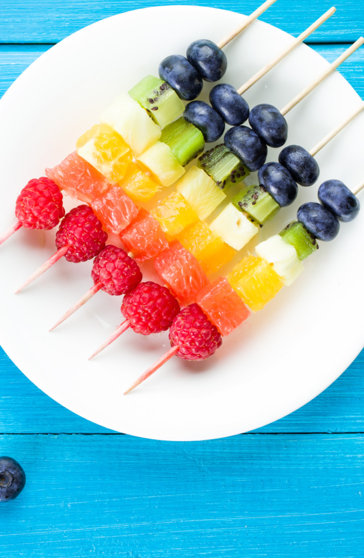 Tray of fruit skewers as a healthy summertime snack.