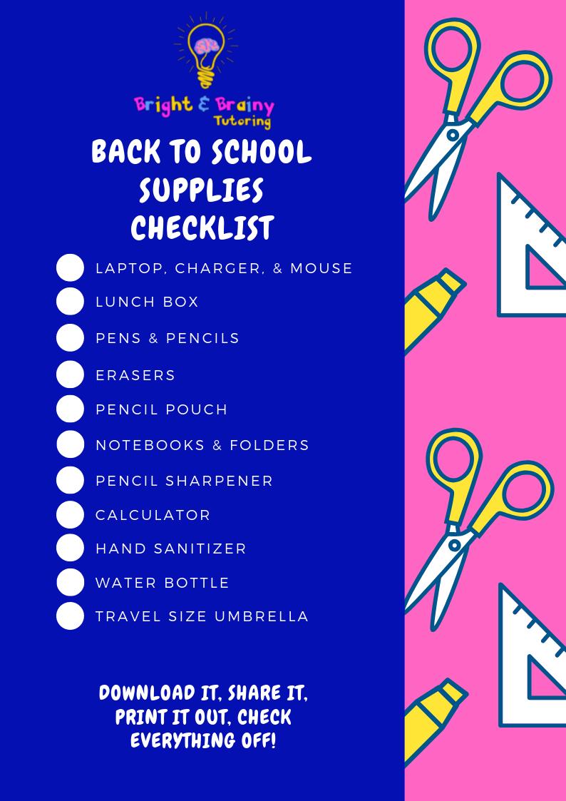 Back to school supplies checklist