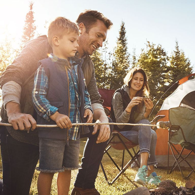 Camping with dad on father's day is fun for the whole family.