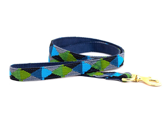 Peaceful Blue-Green Argyle Dog Leash
