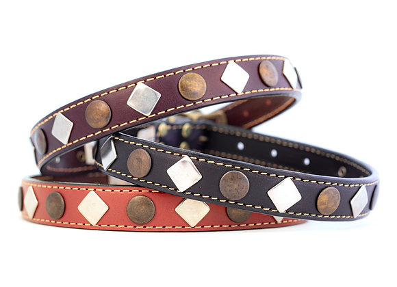 Heirloom Studded Leather Dog Collar