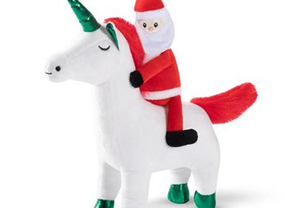 Santa Unicorn Dog Toy with Squeaker