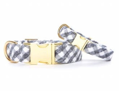 Gray and White Check Pattern Flannel Dog Collar
