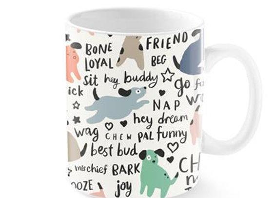 Joyful Dog Phrase Mug