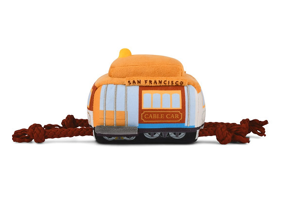 San Francisco Cable Car Plush Dog Toy with Rope and Sounds