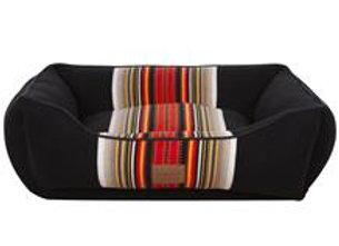 Modern Striped Kuddler Dog Bed: Acadia Black