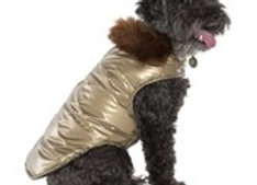 Gold Aspen Dog Puffer Coat with Faux Fur Collar