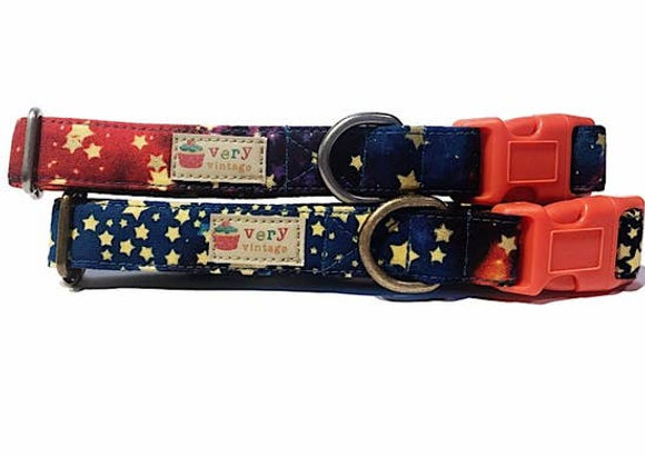 "Very Vintage Organic Cotton Dog Collar - ""Stardust"" Design"