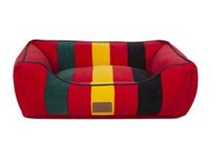 Modern Striped Kuddler Dog Bed: Mount Rainier Red