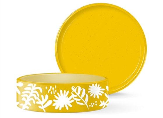 Desert Flower Pattern Medium Yellow Ceramic Pet Bowl