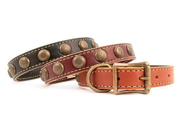 "Classic Genuine Leather ""Sunburst"" Dog Collar"