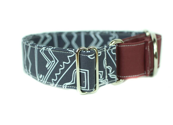 Navy Tribal Pattern Martingale Dog Collar