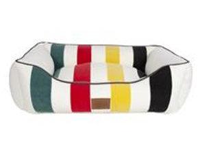 Modern Striped Kuddler Dog Bed: Glacier White