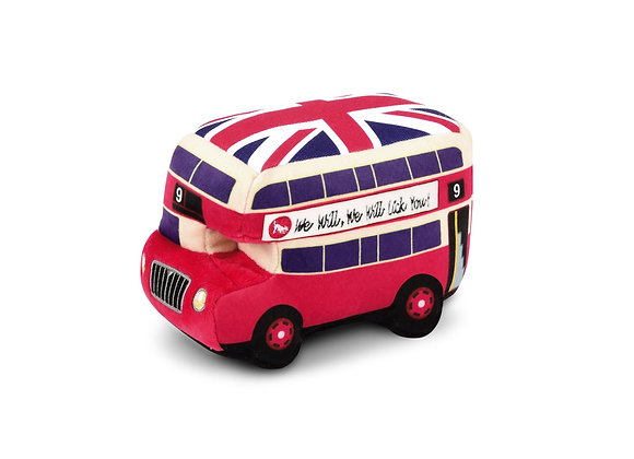 Double-Decker London Bus Plush Dog Toy with Sounds