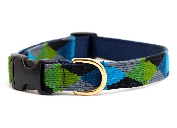 Peaceful Blue-Green Argyle Dog Collar