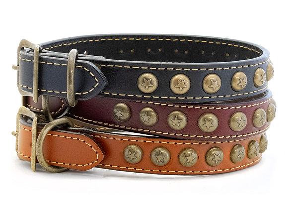 Heirloom Star Classic Leather Dog Collar