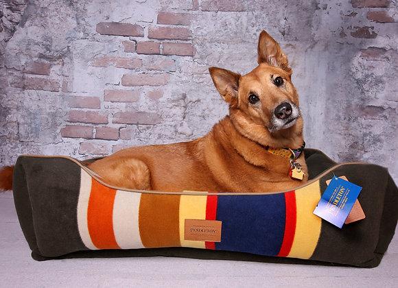 Modern Striped Kuddler Dog Bed: Heather Green