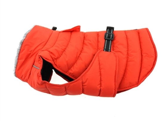 Alpine Puffer Dog Coat in Coral Orange